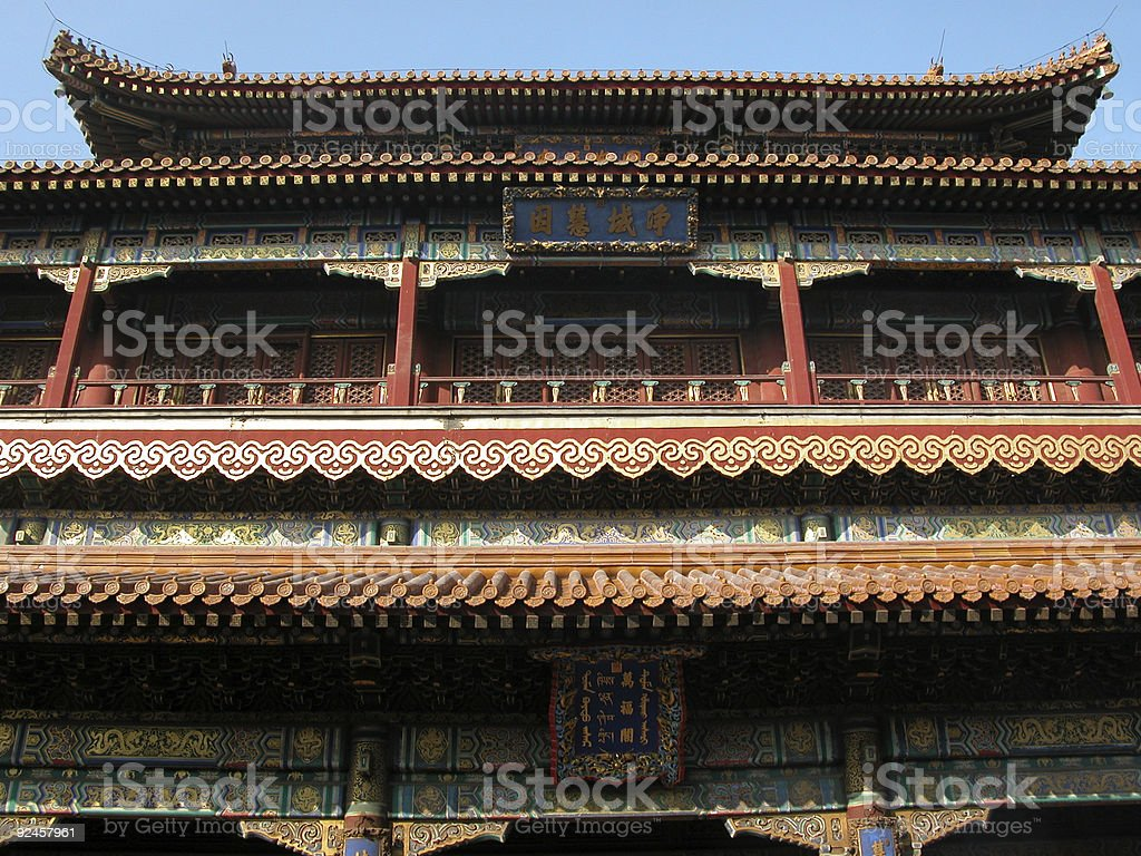 Beautiful Facade, Lama Temple, Beijing royalty-free stock photo