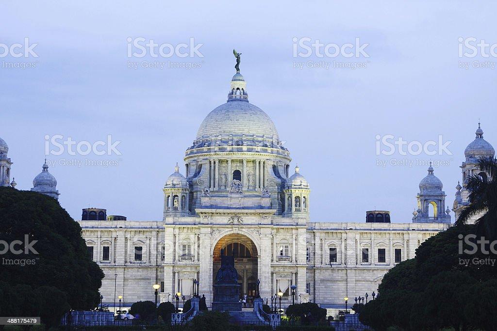 Beautiful facade of Victoria Memorial hall at night stock photo