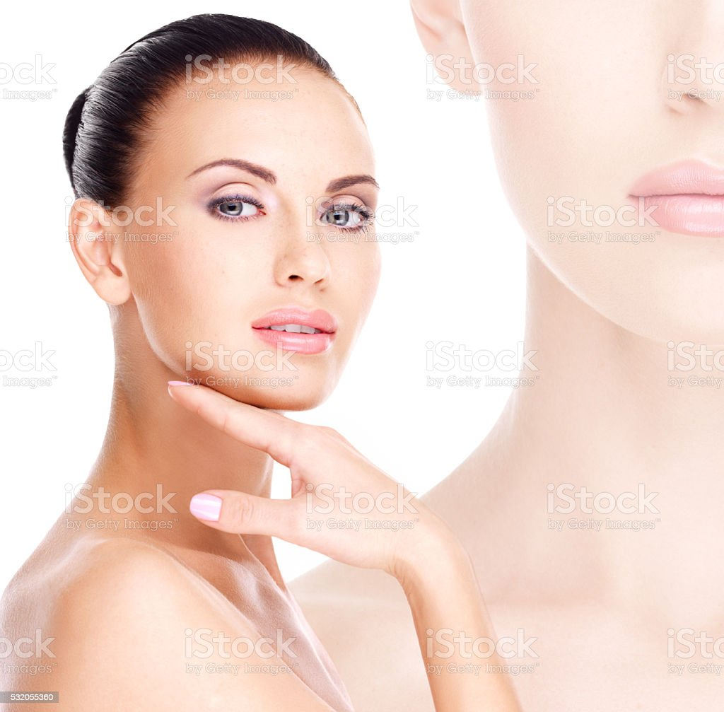 Beautiful   face of the young pretty woman with fresh skin stock photo