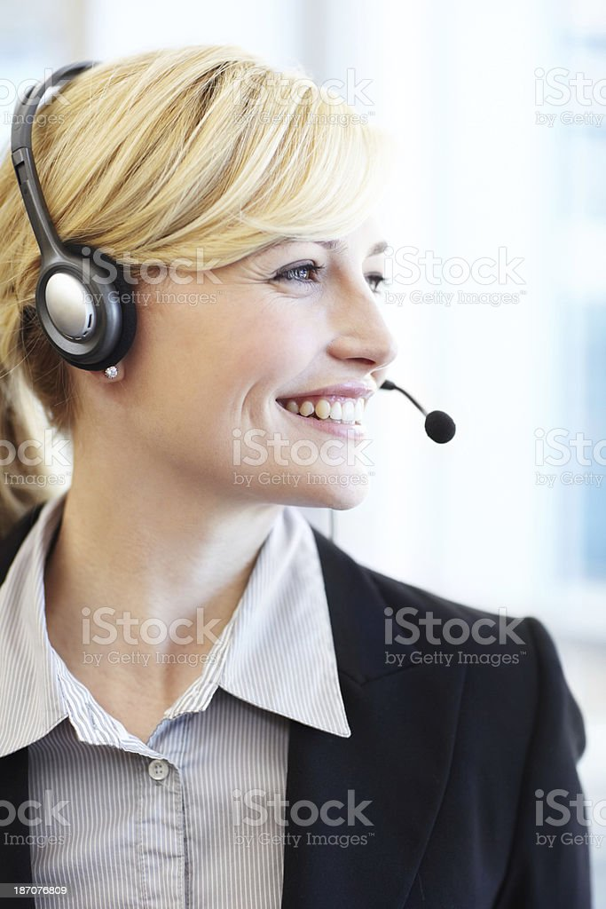 Beautiful face to greet you at the reception desk stock photo