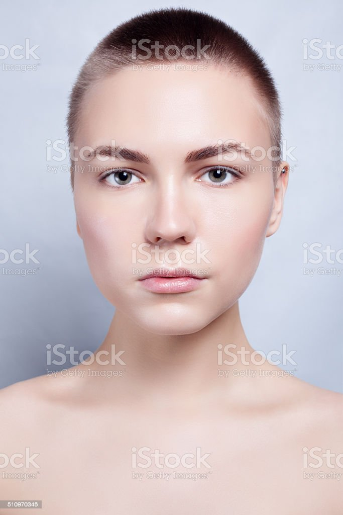Beautiful Face Young Woman Clean Fresh Skin close up stock photo