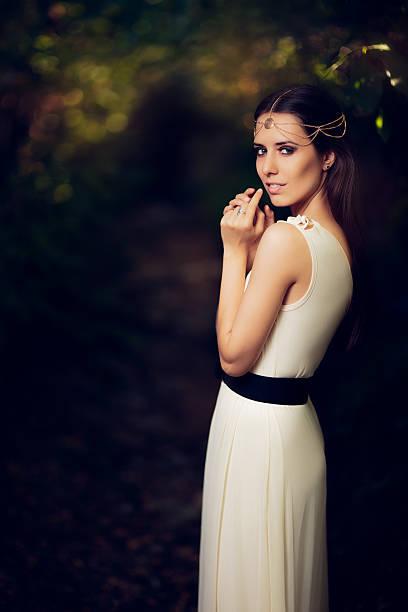 beautiful fairy princess girl in summer fantasy landscape - königin kopfteil stock-fotos und bilder
