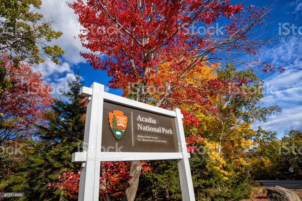 Beautiful fall colors of Acadia National Park in Maine stock photo