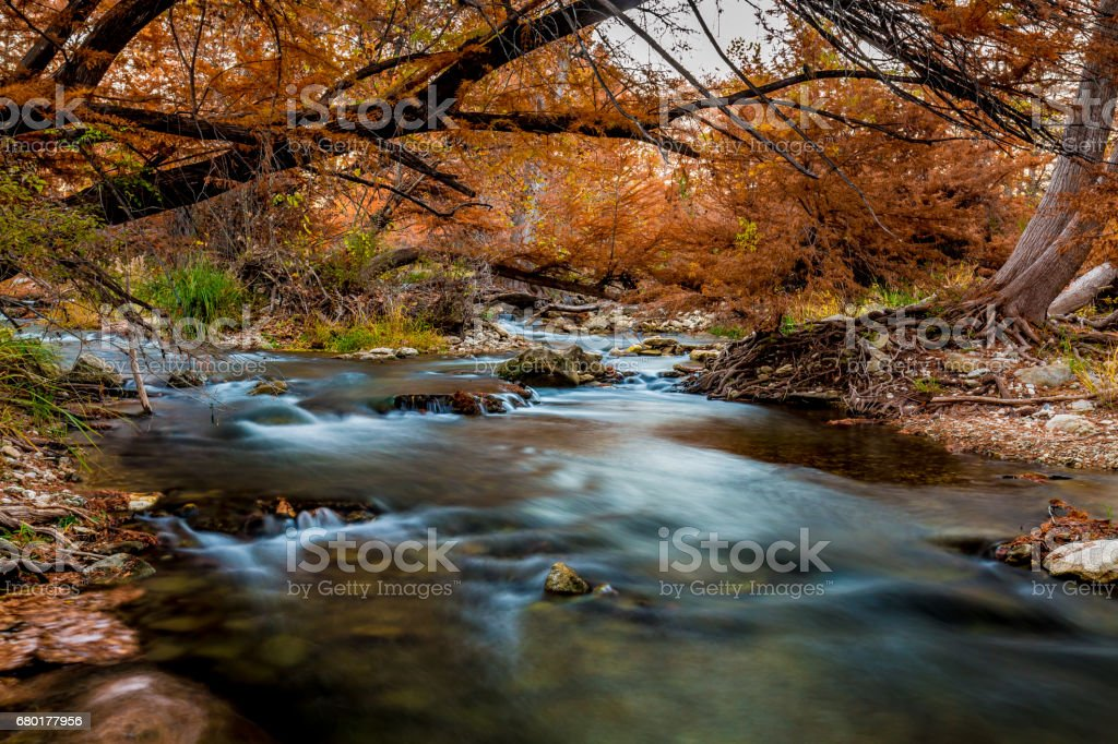 Beautiful Fall Foliage and Waterfalls on the Guadalupe River, Texas. stock photo