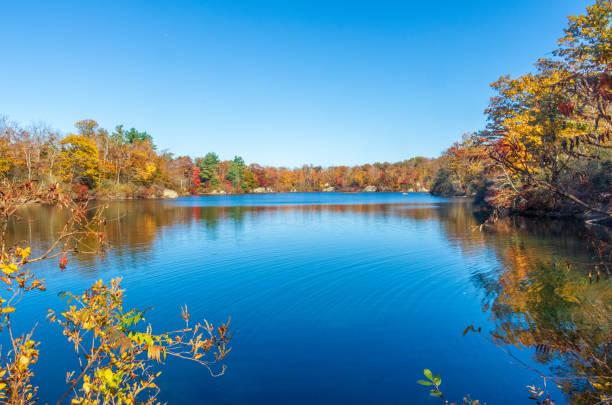 Beautiful fall foliage surrounds a small pond stock photo