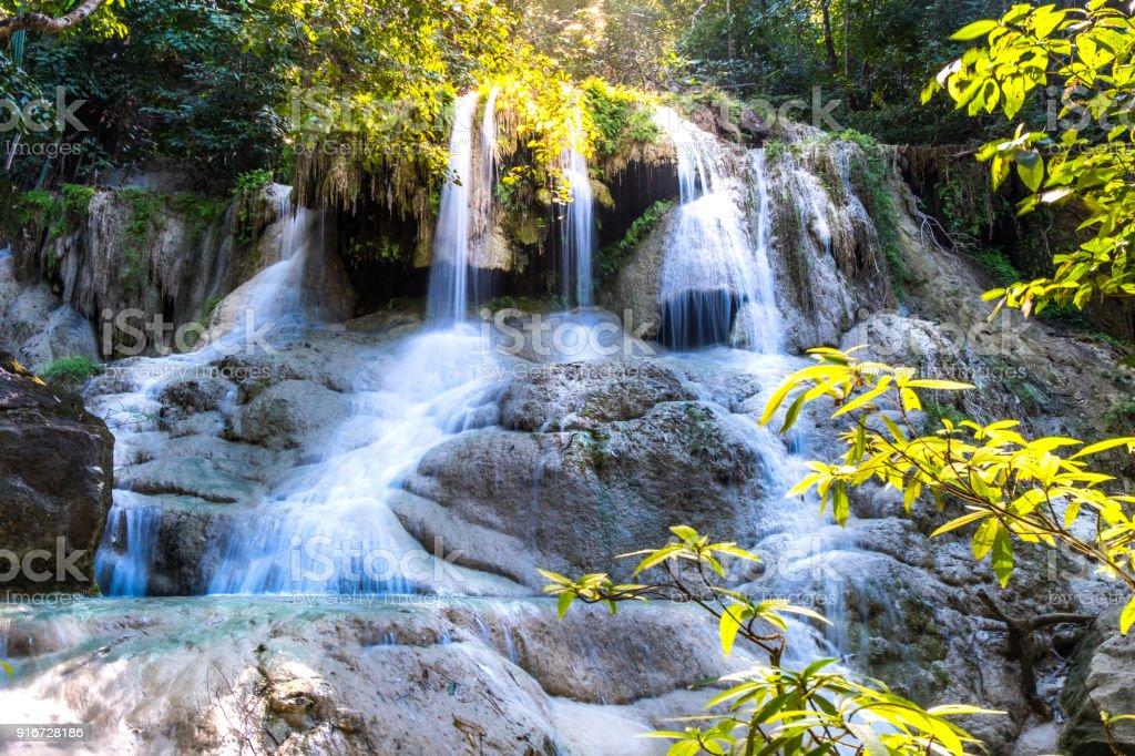 Beautiful falls,Erawan Waterfall at National Park ,Kanchanaburi Province, Thailand stock photo