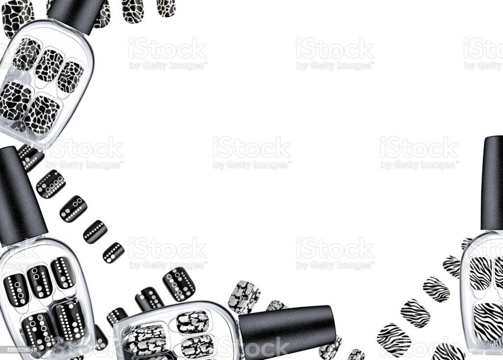 Beautiful false nails, nail polish sample, frame for text zbiór zdjęć royalty-free