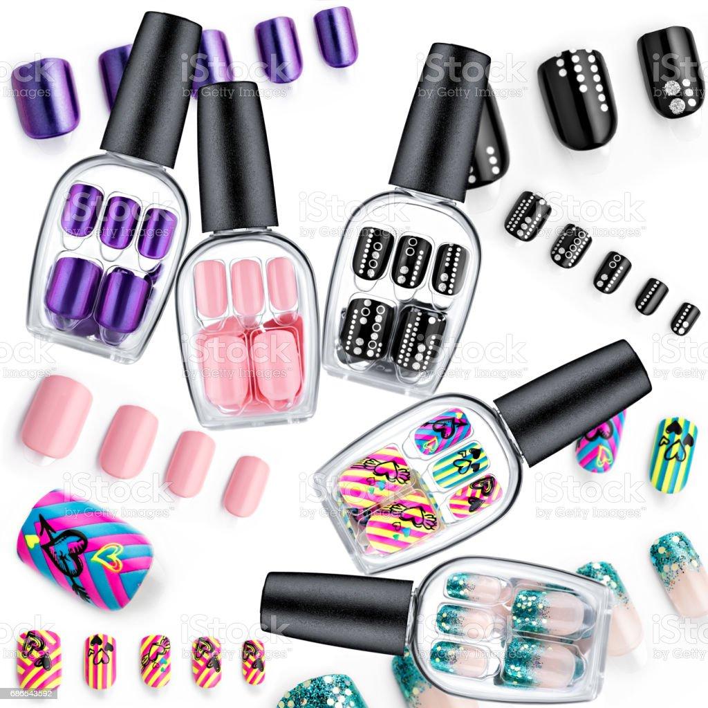 Beautiful false nails, nail polish sample, frame for text foto stock royalty-free