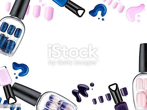 istock Beautiful false nails, nail polish sample, frame for text 686543682