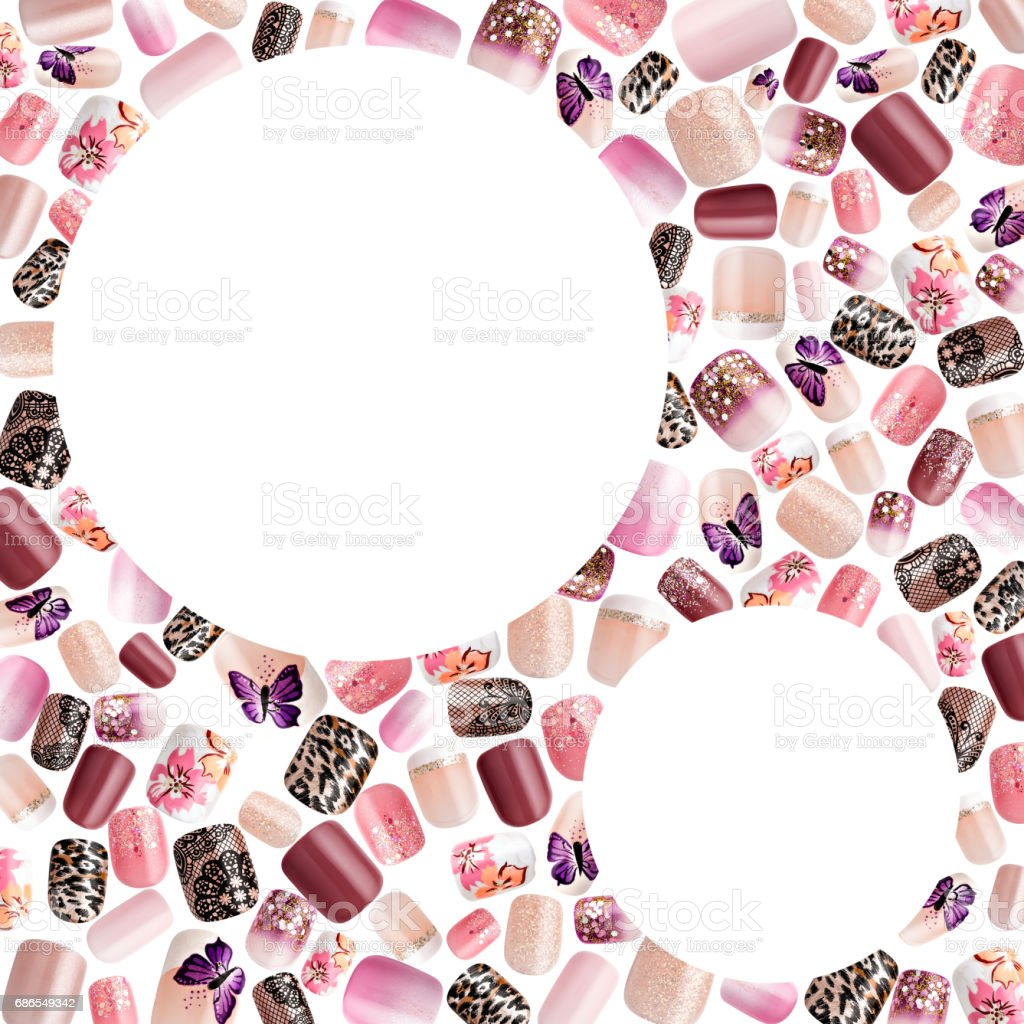 Beautiful False Nails Nail Polish Sample Frame For Text Stock Photo ...