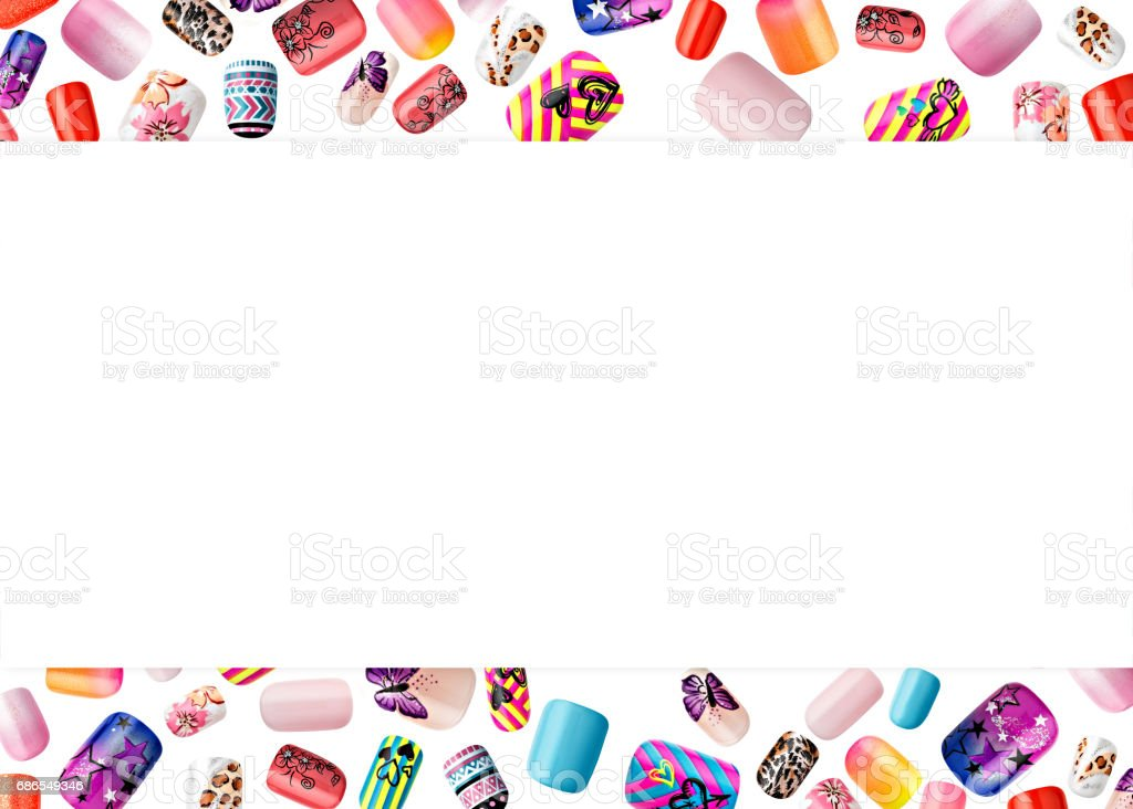 Beautiful false nails, nail polish sample, frame for text royalty-free stock photo