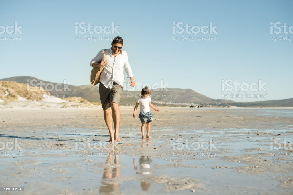 Beautiful family holding hands walking on the beach royalty-free stock photo