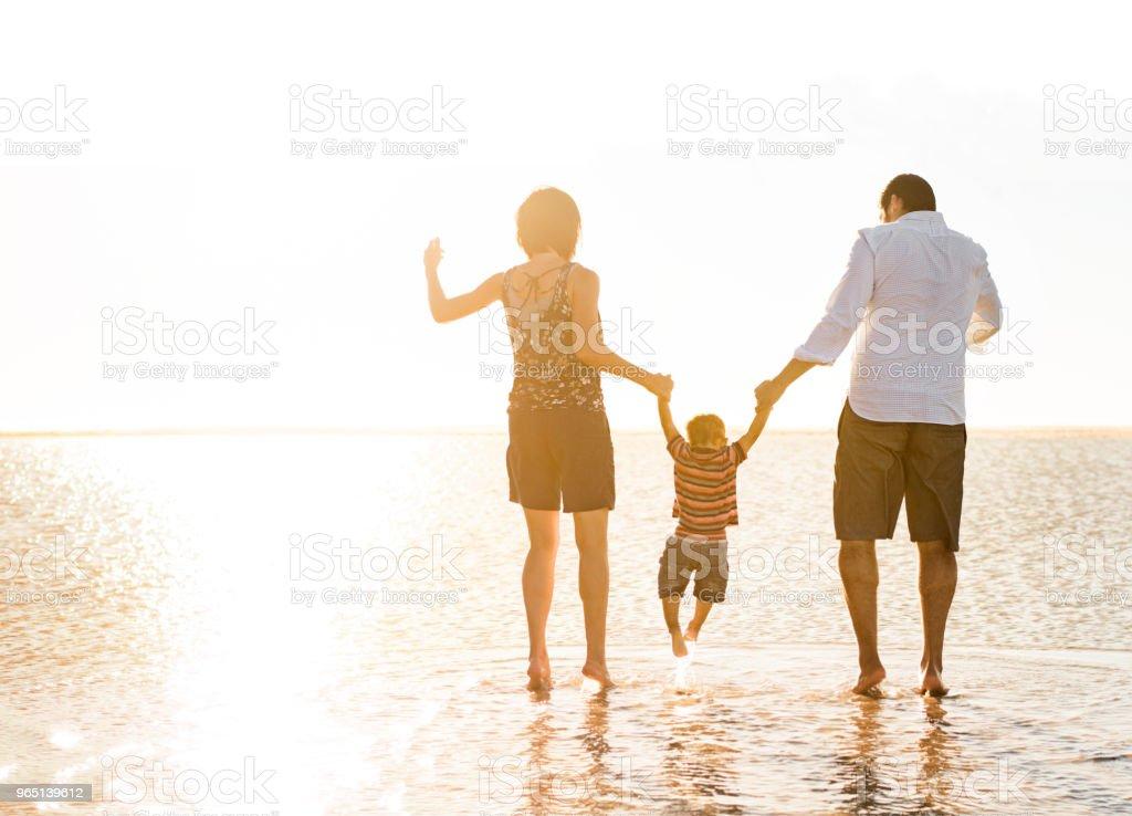 Beautiful family holding hands walking on the beach zbiór zdjęć royalty-free