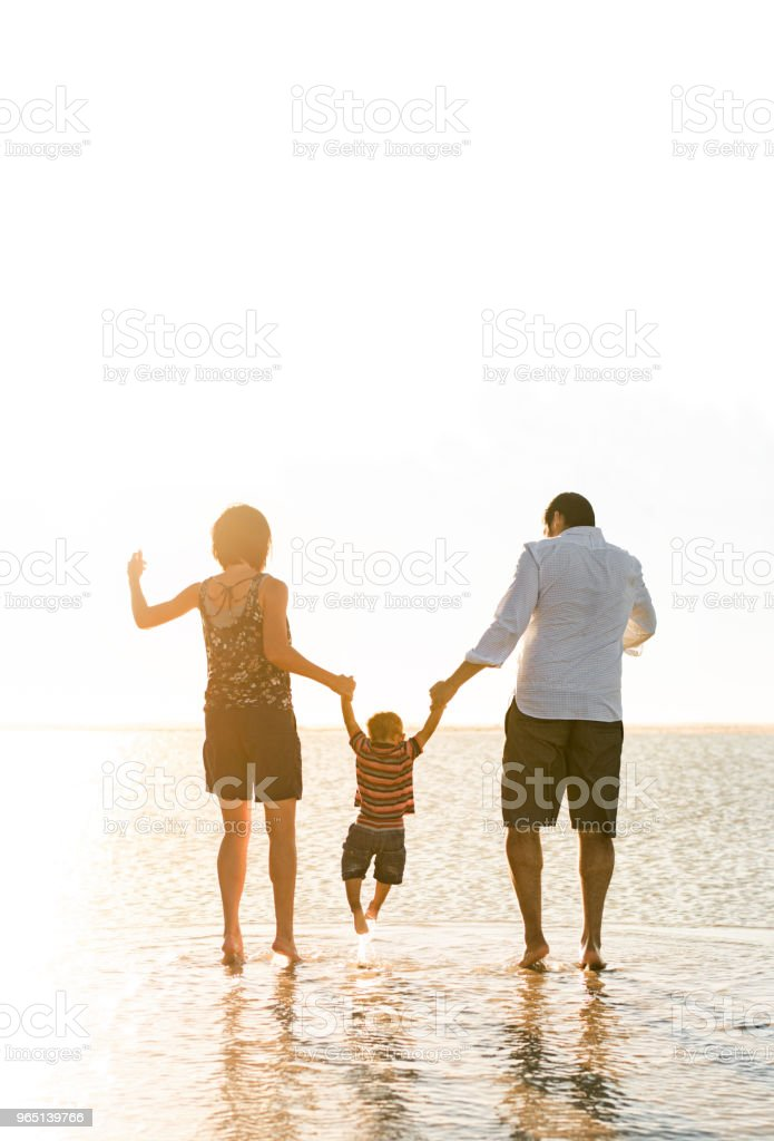 Beautiful family holding hands walking on the beach zbiór zdjęć royalty-free