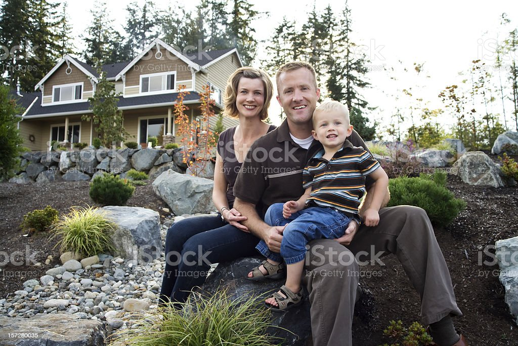 Beautiful family on a warm fall afternoon royalty-free stock photo