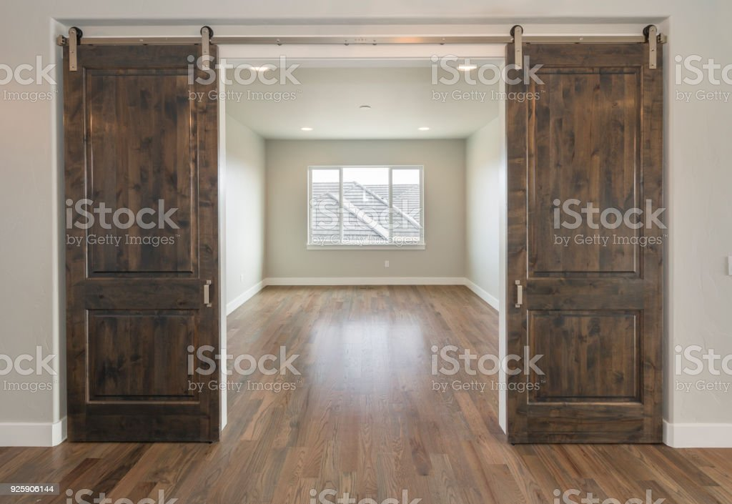 Beautiful Farm House Double Barn Doors stock photo