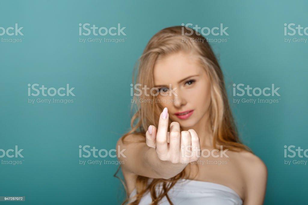 Beautiful  fashion  blond  woman stock photo
