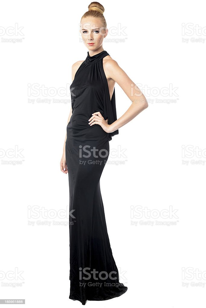 Beautiful fashion model in an evening gown stock photo