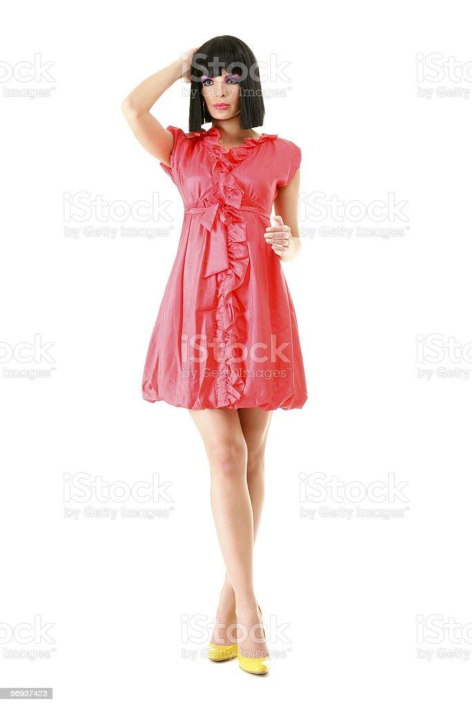 Beautiful fashion model in pink mini dress royalty-free stock photo