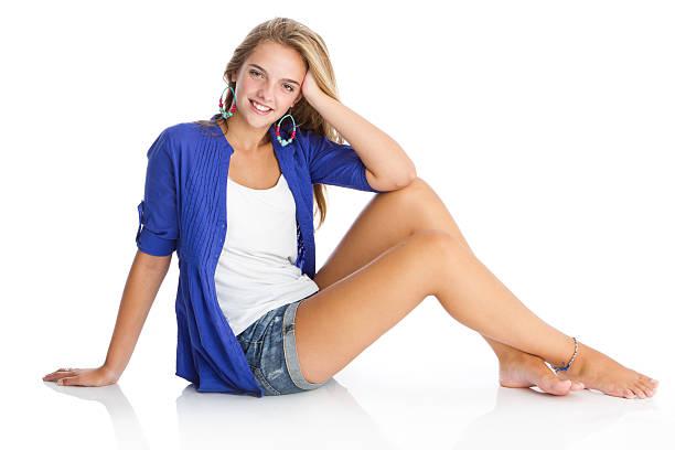 Beautiful fashion model looking at camera stock photo