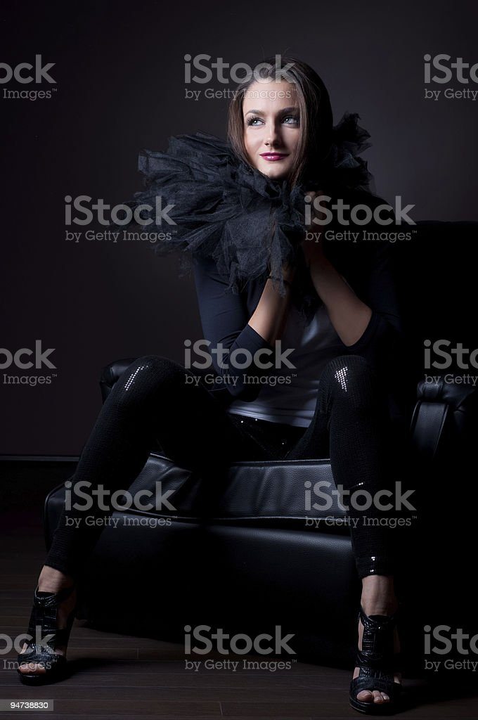 Beautiful fashion model wearing a scarf royalty-free stock photo