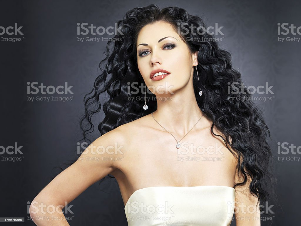 beautiful fashion sexy  woman with curly hairstyle royalty-free stock photo