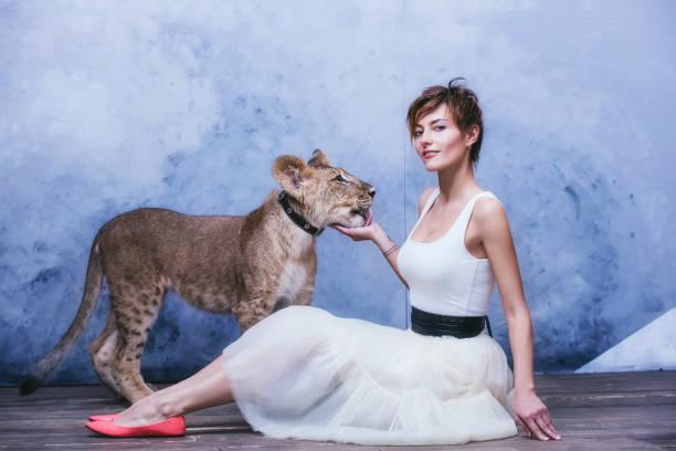 Bir küçük hayatta aslan yavrusu güzel şık genç kadınla stok fotoğrafı