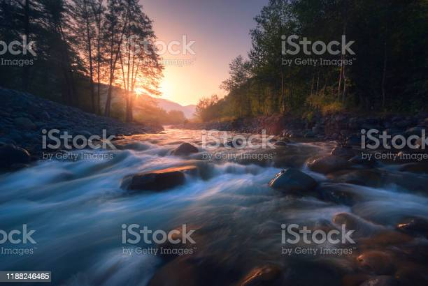 Photo of Beautiful fast river in mountain forest at sunrise