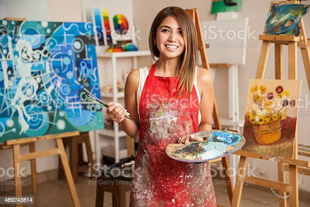 Beautiful female artist in her studio picture id489243814?b=1&k=6&m=489243814&s=612x612&h=o4ckpxaqf62xarlzlw9japvwppws8nh 4nmvx30a17u=