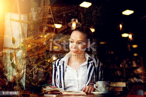 istock Beautiful female at library reading book looking aside futuristic concept. Future education project outside the office. 913190062