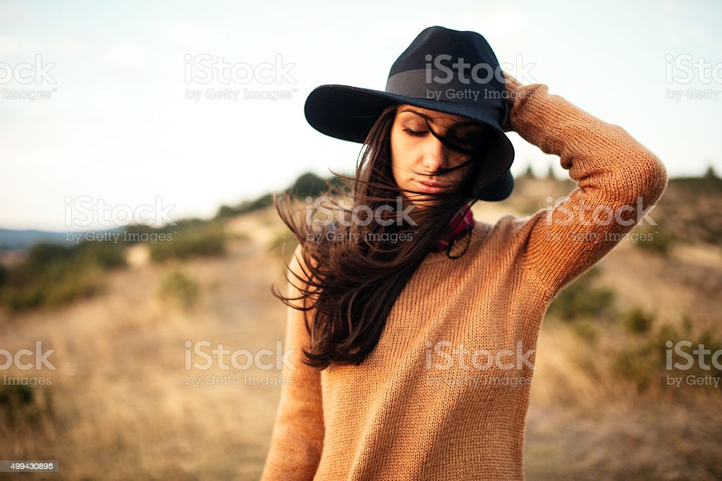 Beautiful female at the field stock photo