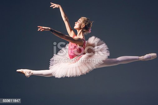 476021886 istock photo Beautiful female ballet dancer on a grey background. Ballerina is 533611847