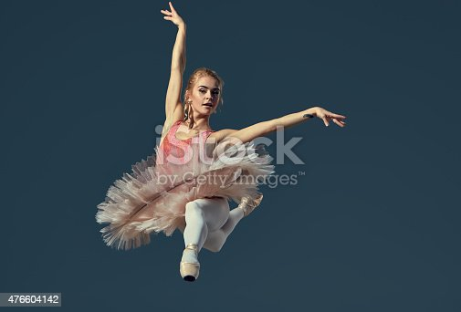 476021886 istock photo Beautiful female ballet dancer on a grey background 476604142