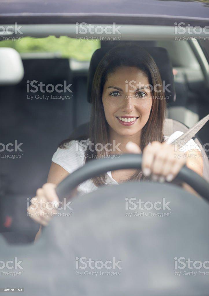 Beautiful female Driver stock photo