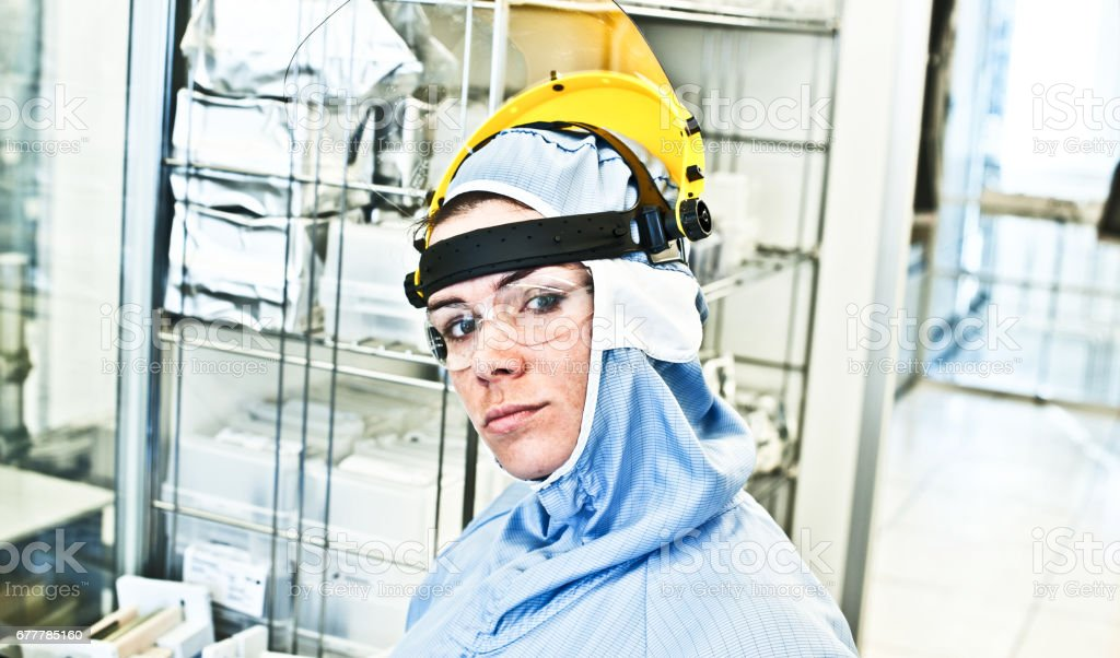 Beautiful Female Engineer Posing In The Lab royalty-free stock photo