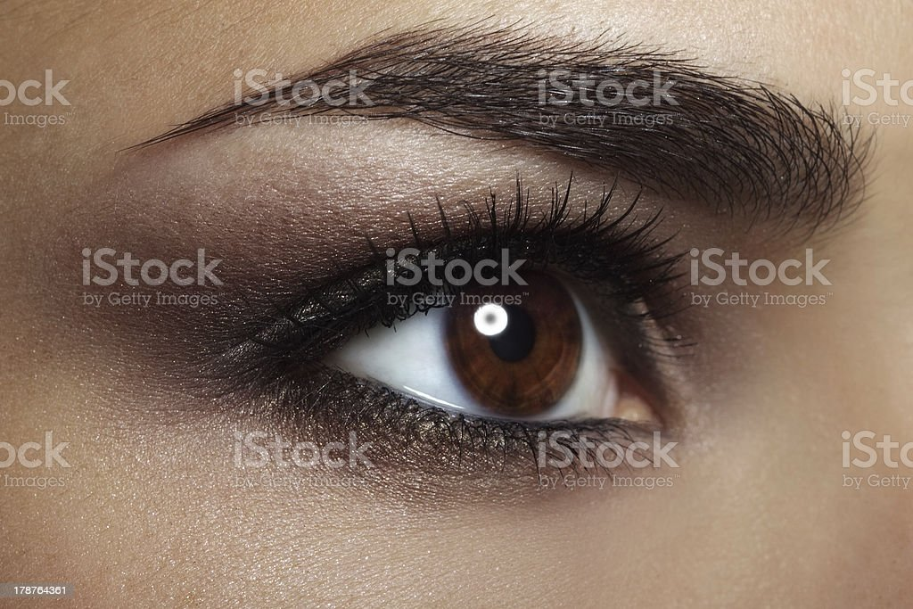 Beautiful female eye Makeup. close-up stock photo
