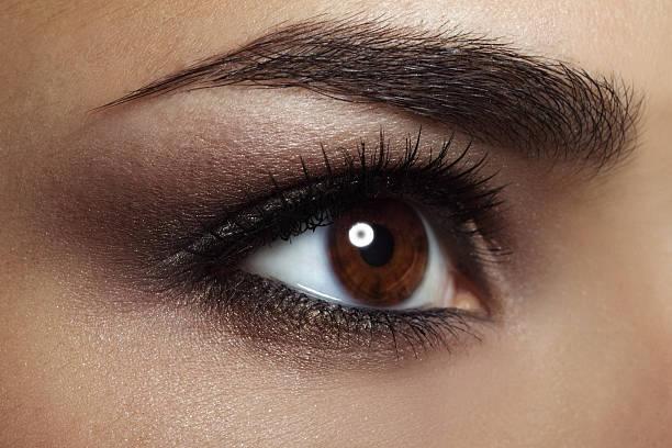 Beautiful female eye Makeup. close-up stock photo