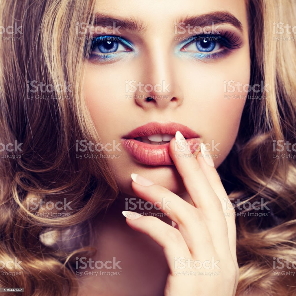 Beautiful Female Face Closeup Pretty Woman Fashion Model With Makeup