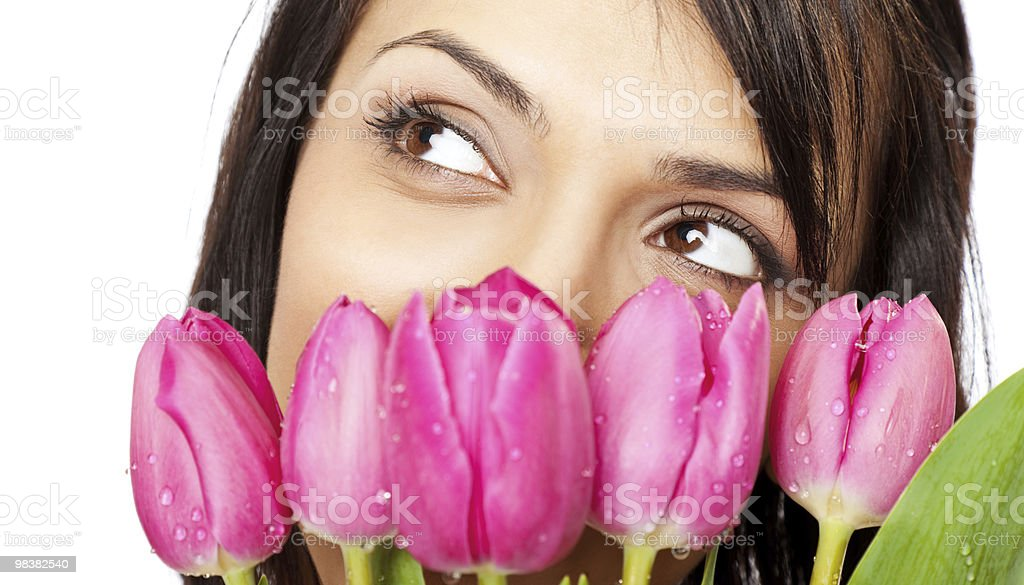 Beautiful female face tulips royalty-free stock photo