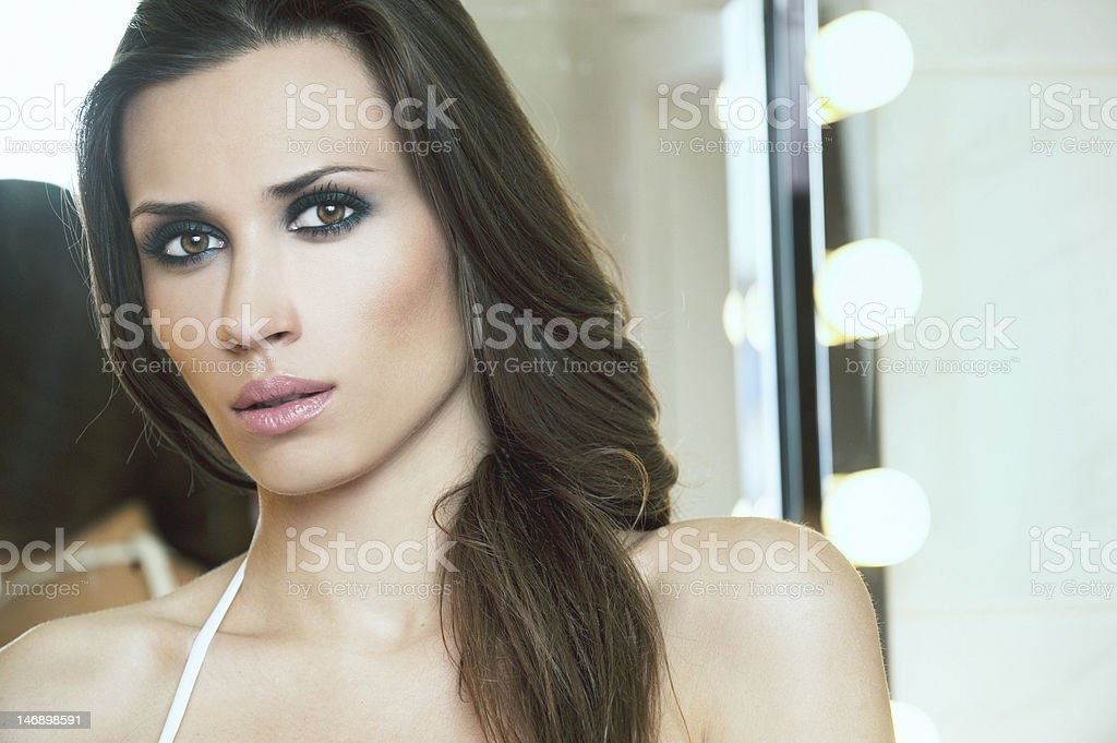 Beautiful female face with evening make up royalty-free stock photo