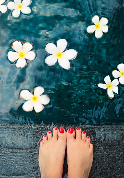 beautiful female feet in swimming pool with white frangipani - mulher natureza flores e piscina imagens e fotografias de stock