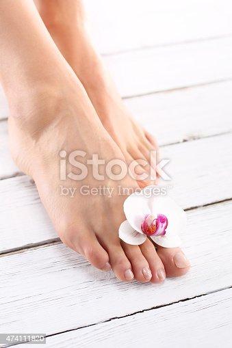 istock Beautiful female feet, smooth and neat 474111820
