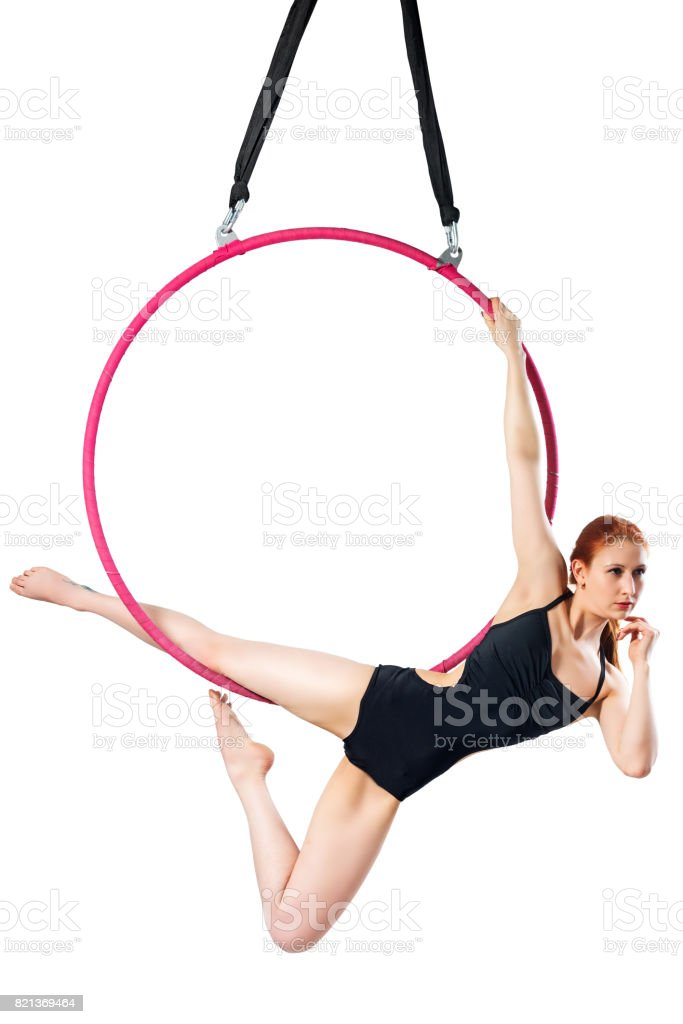 Beautiful female figure in an airy ring on a white background stock photo