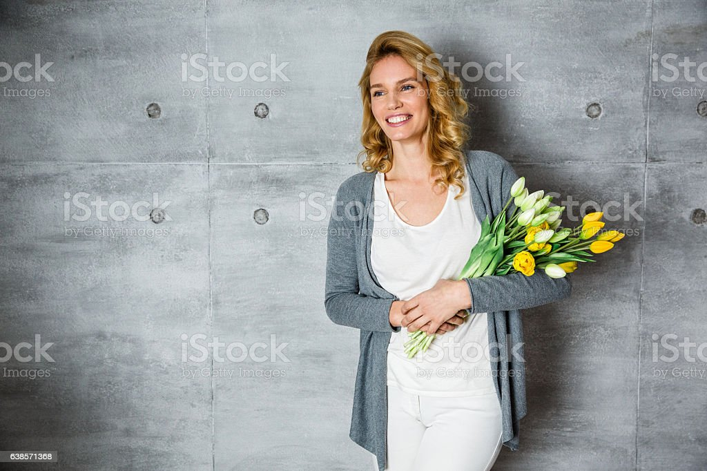 Beautiful female florist stock photo