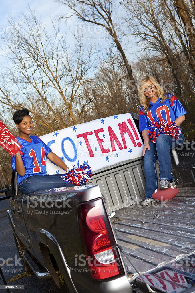 Beautiful female football fan royalty-free stock photo
