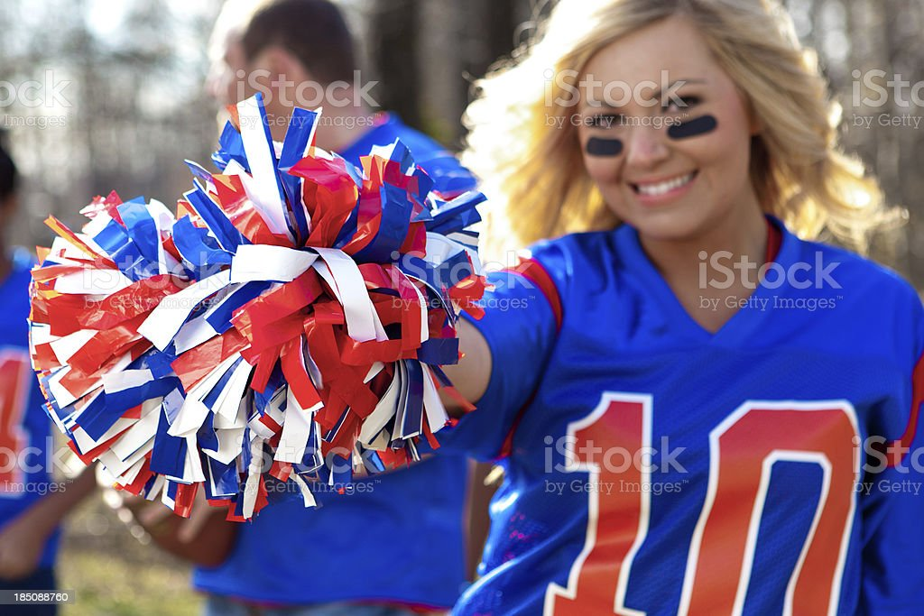 Beautiful female football fan royalty-free stock photo