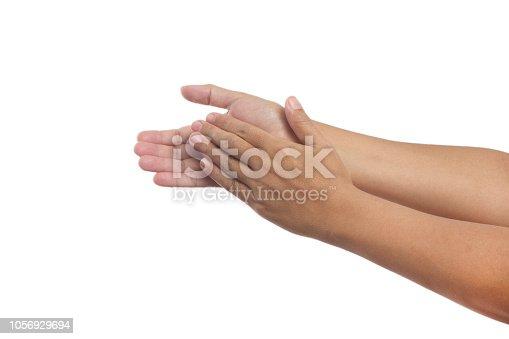 Beautiful female hand applause gesture.