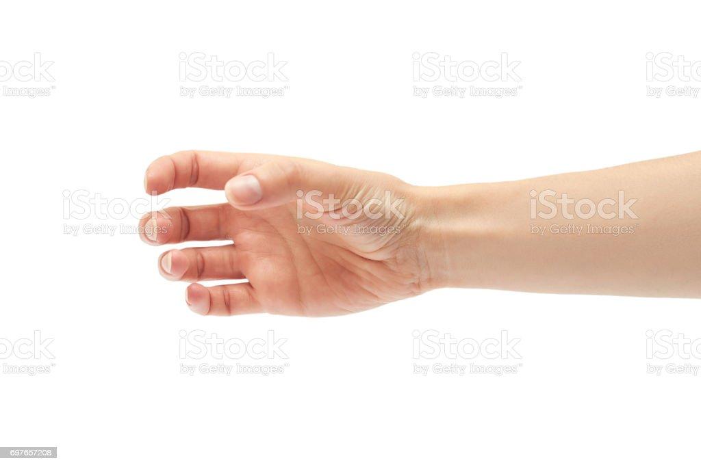 Beautiful female hand holding gesture. Isolated on white background stock photo