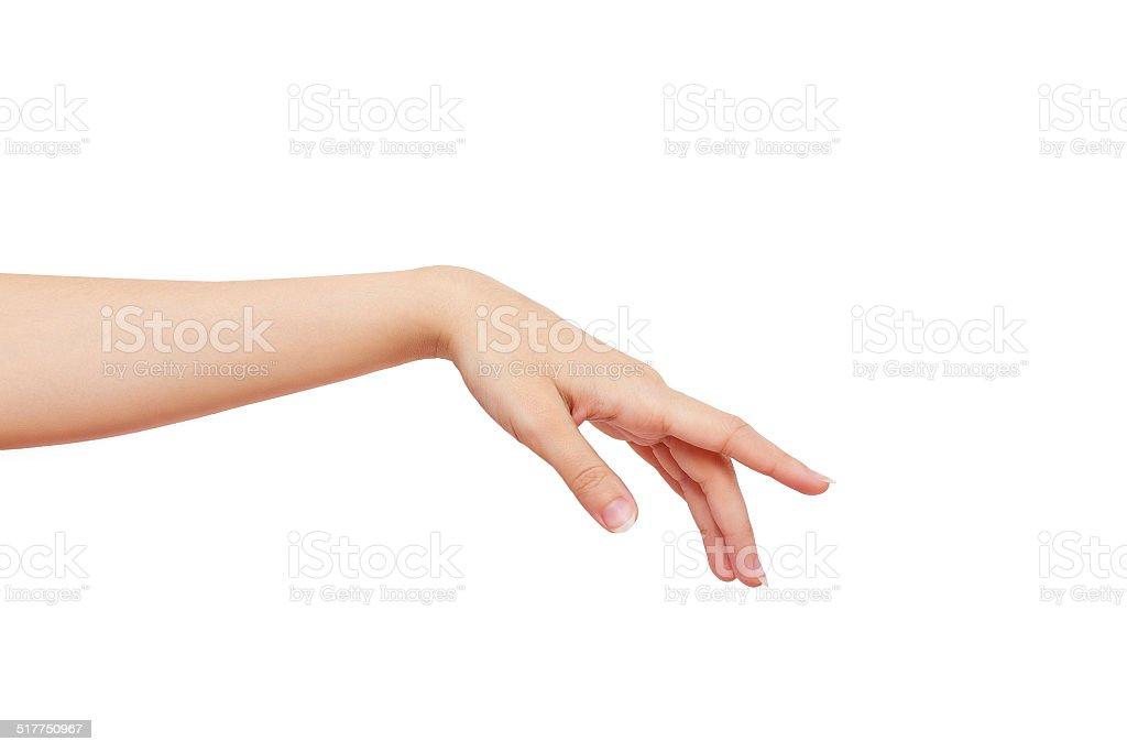 Schöne weibliche hand, isoliert auf weißem Hintergrund – Foto