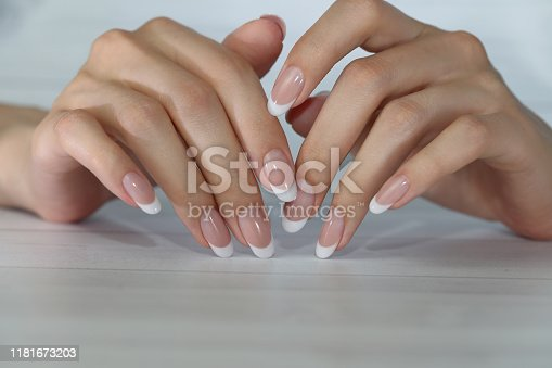 Beautiful Female Hands. Beautiful hand with perfect nails. French manicure.